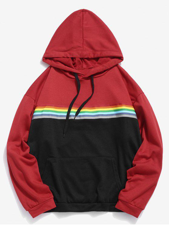 unique Rainbow Striped Patch Contrast Hoodie - RUBY RED M