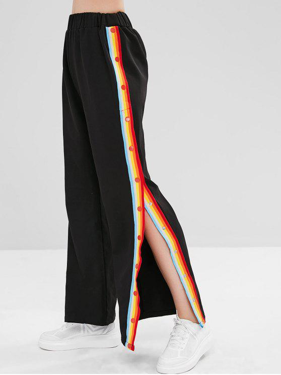 ladies ZAFUL Snap Button Rainbow Striped Pants - BLACK XL
