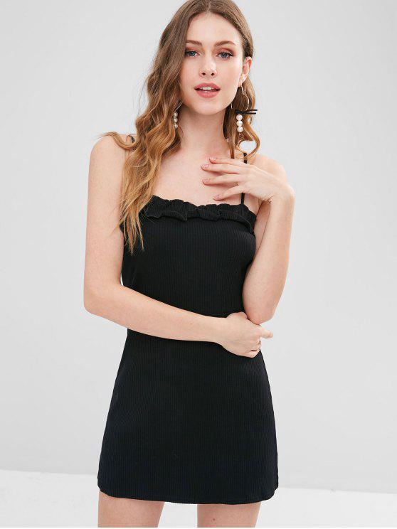 best Rib Knit Cami Frilled Mini Dress - BLACK S