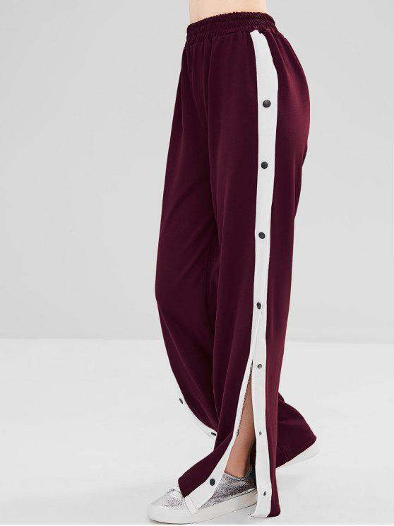 fashion Snap Button Wide Leg Pants - RED WINE M