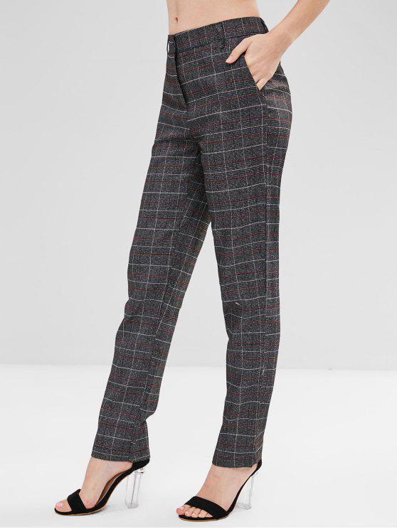 sale Checked Straight Cut Pants - MULTI L