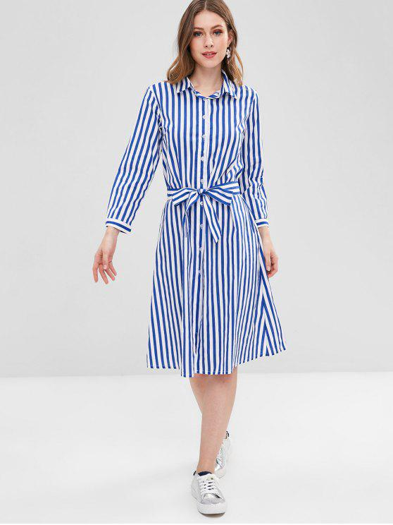 outfit Casual Striped Shirt Dress - MULTI M