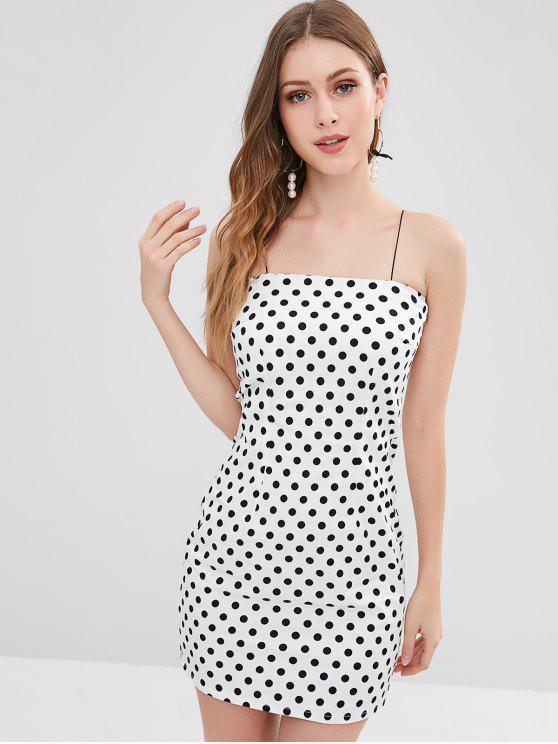 Cami Polka Dot Bodycon Mini Vestido - Branco L