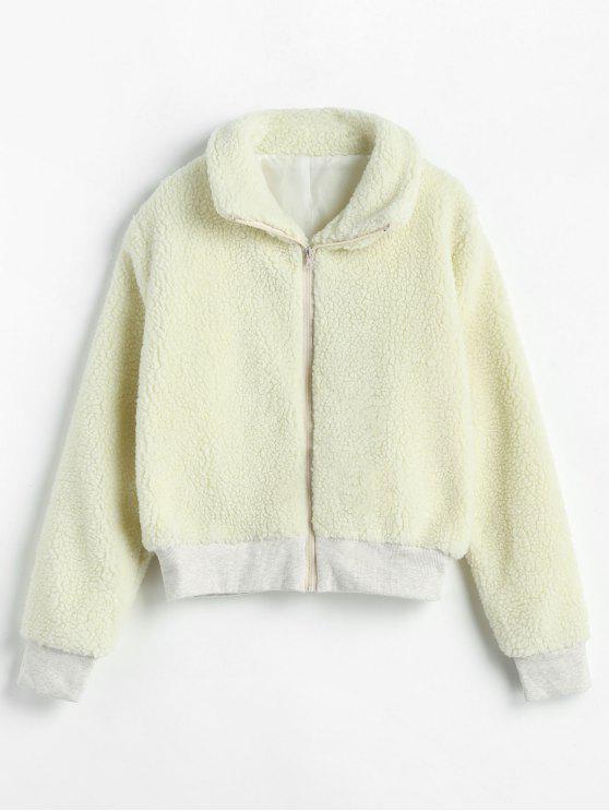 buy Ribbed Trim Zip Up Faux Fur Winter Coat - COOL WHITE L