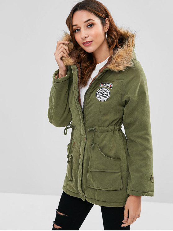 new Letter Embroidered Fleece Lined Parka Coat - FERN GREEN XL