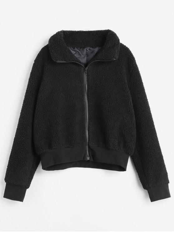 chic Ribbed Trim Zip Up Faux Fur Winer Coat - BLACK M