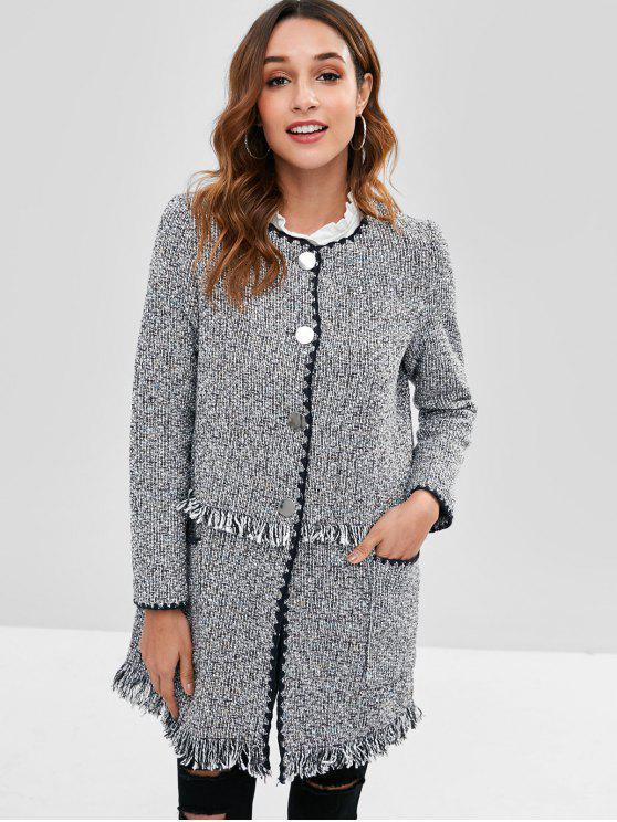 Abrigo de Tweed deshilachado con botones - Gris Oscuro L