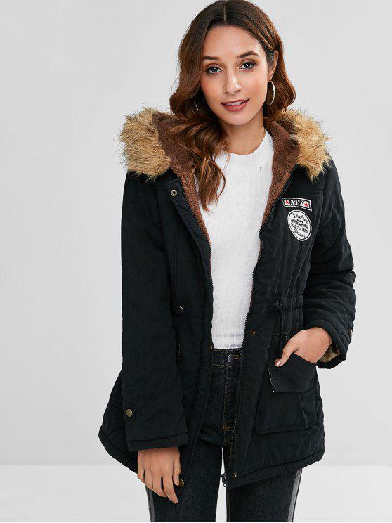 lady Letter Embroidered Fleece Lined Parka Coat - BLACK M