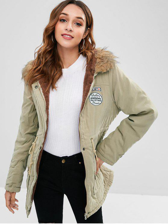 online Letter Embroidered Fleece Lined Parka Coat - LIGHT KHAKI L