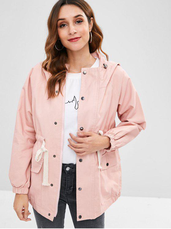 outfits Drawstring Waist Hooded Coat - PINK ONE SIZE