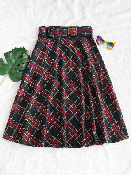 Falda midi de tartán ceñido con cinturón - Multicolor L