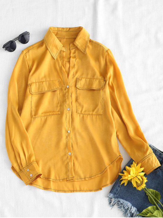 latest Flap Pockets High Low Shirt - GOLDEN BROWN S