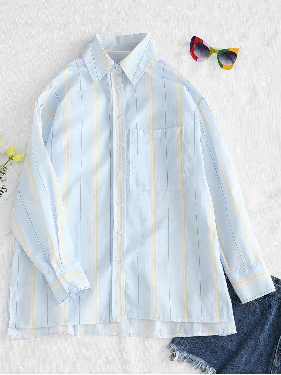 Camisa a rayas con abertura de bolsillo - Multicolor L