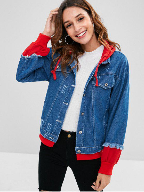 shop Hooded Ripped Denim Jacket - DENIM DARK BLUE XL