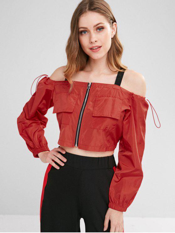 chic Cold Shoulder Zipper Crop Jacket - CHERRY RED L