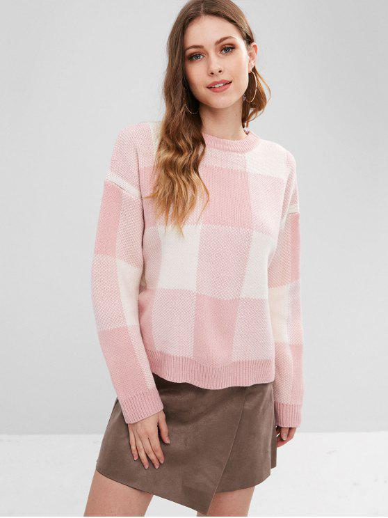 unique Drop Shoulder Plaid Oversized Sweater - PINK ONE SIZE