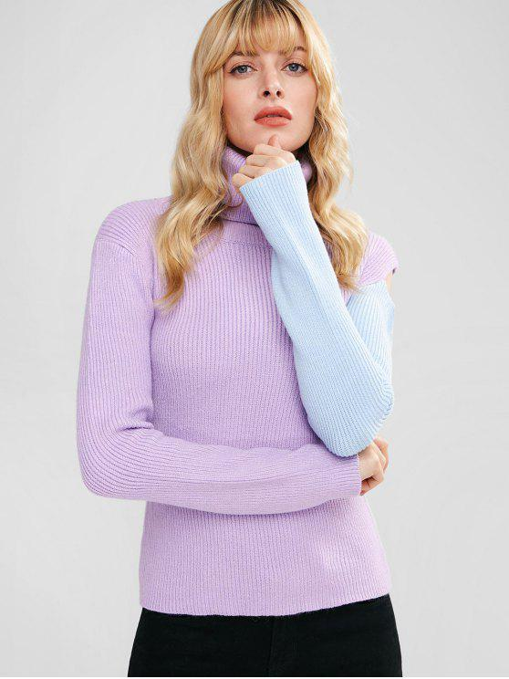 buy Two Tone Turtleneck Slim Sweater - PURPLE ONE SIZE