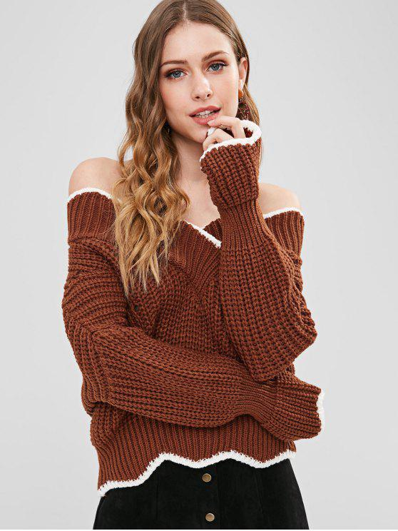 womens Off Shoulder Scalloped Chunky Sweater - CHESTNUT ONE SIZE