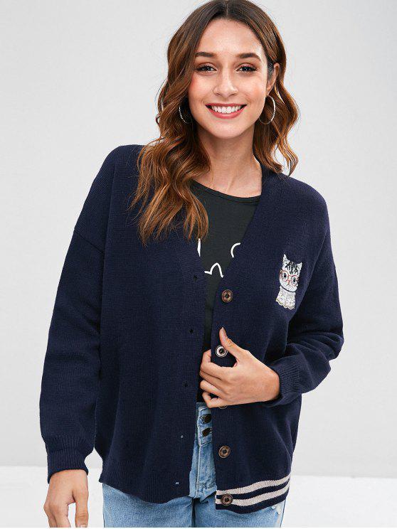 online Cat Embroidered Drop Shoulder Cardigan - NAVY BLUE ONE SIZE
