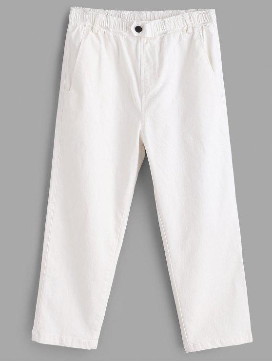 outfits Button Embellished Pocket Capri Pants - WHITE ONE SIZE