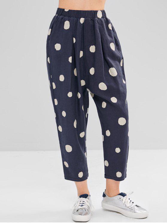 Pantalon Sarouel à Taille Haute à Pois - Bleu Foncé Taille Unique