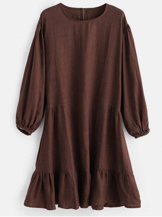 trendy Drop Waist Keyhole Back Dress - COFFEE ONE SIZE
