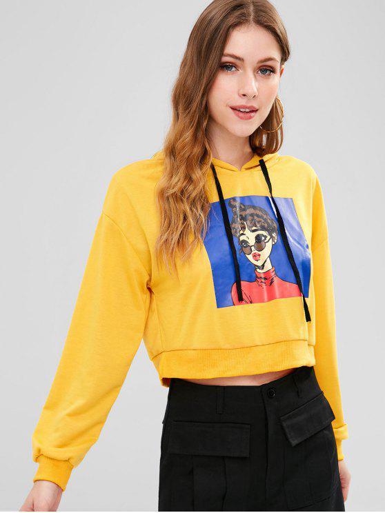 lady Drop Shoulder Figure Print Hoodie - ORANGE GOLD XL