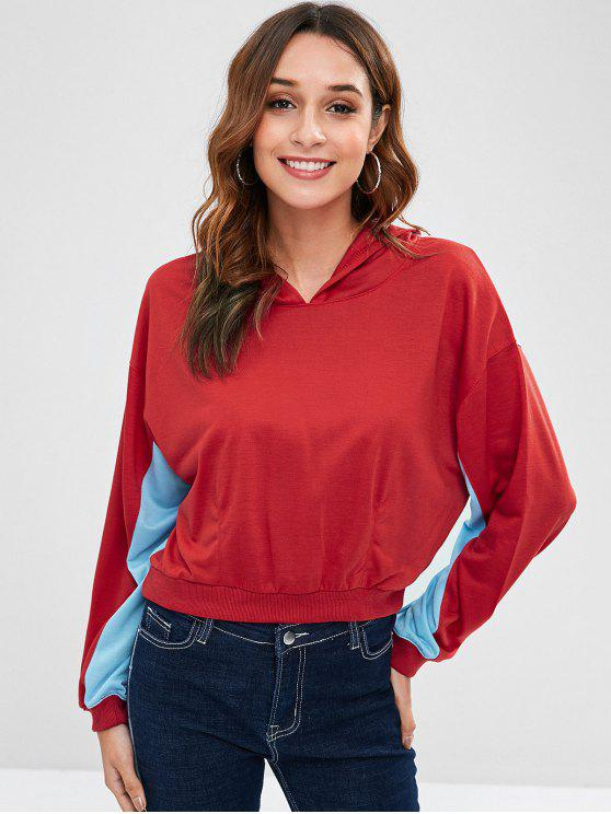 fancy Drop Shoulder Two Tone Hoodie - LAVA RED XL