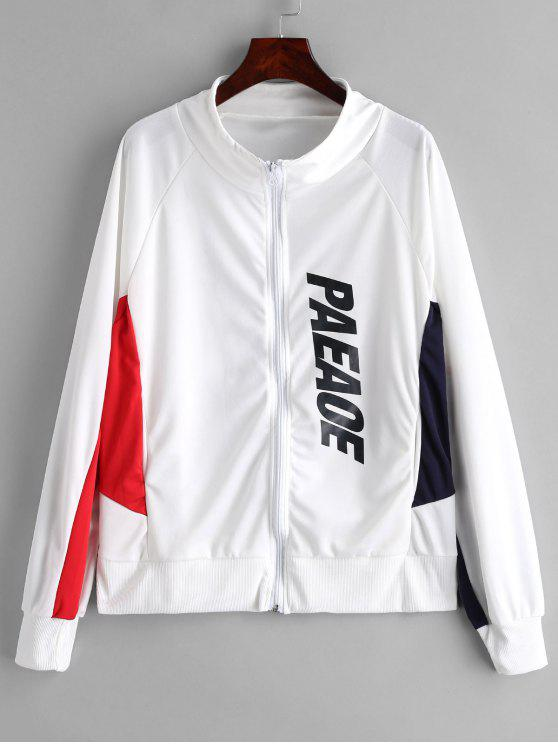 women Zip Up Contrast Sports Sweatshirt - WHITE 2XL