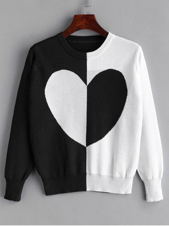 outfit Heart Graphic Two Tone Sweater - BLACK ONE SIZE