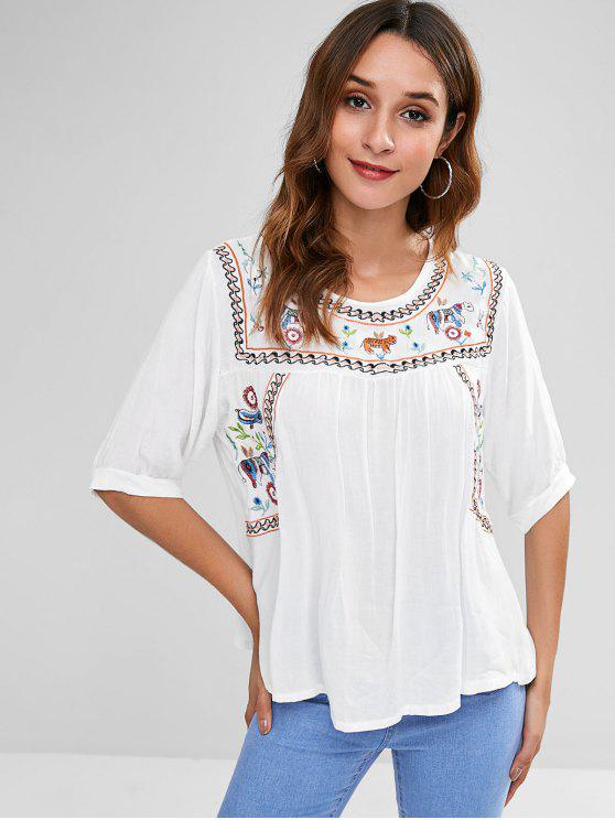 trendy Embroidered Keyhole Back Blouse - WHITE S