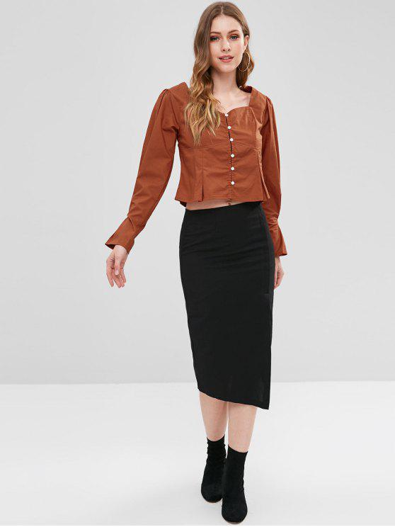 lady Sweetheart Neck Button Up Top - CHESTNUT RED M