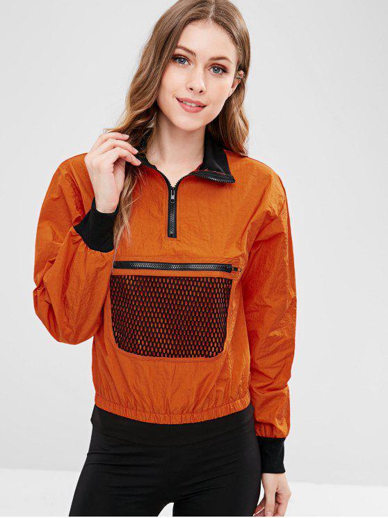 hot Half Zip Fishnet Windbreaker Jacket - PAPAYA ORANGE S