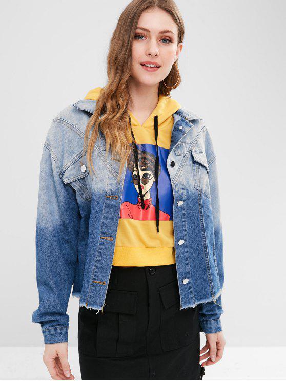 uusi korkea maksaa viehätysvoimaa luistella kengät Ombre Front Pockets Denim Jacket DENIM DARK BLUE