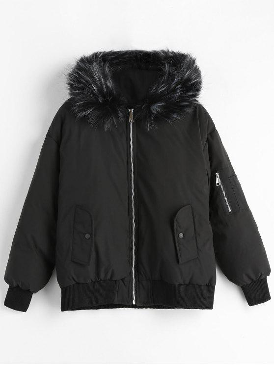 ba469937cd0f 43% OFF  2019 Faux Fur Trim Quilted Short Winter Jacket In BLACK