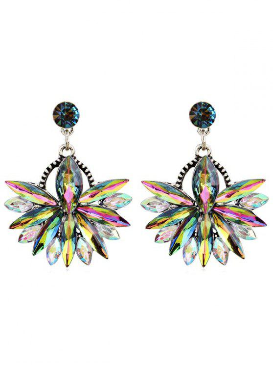 buy Rhinestone Floral Drop Earrings - MULTI-E