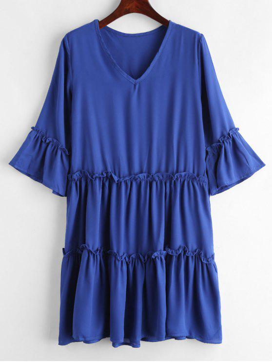 best Flare Sleeve Frills Chiffon Dress - BLUE L