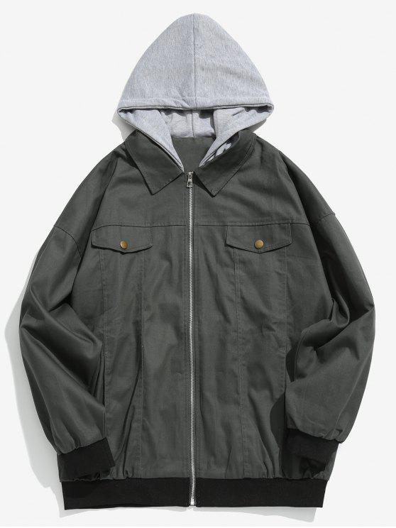 women's Embroidered Letter Patchwork Hooded Jacket - GRAY S