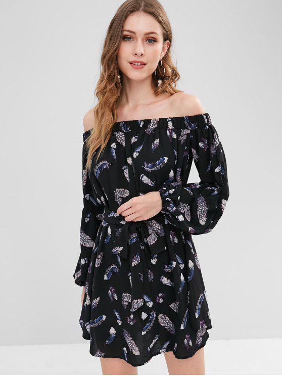 c2154734bc35 2019 ZAFUL Feather Print Off Shoulder Belted Dress In BLACK L