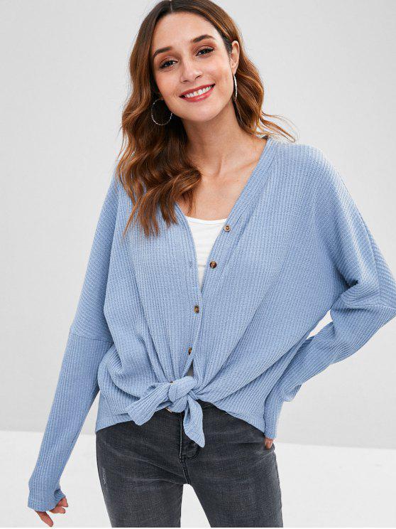 shop Button Front Drop Shoulder Cardigan - BLUE KOI M