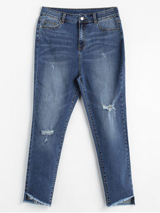 hot ZAFUL Distressed High Waisted Mom Jeans - DENIM BLUE M