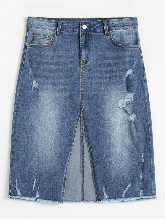 lady ZAFUL Slit Ripped Midi Denim Skirt - DENIM BLUE L