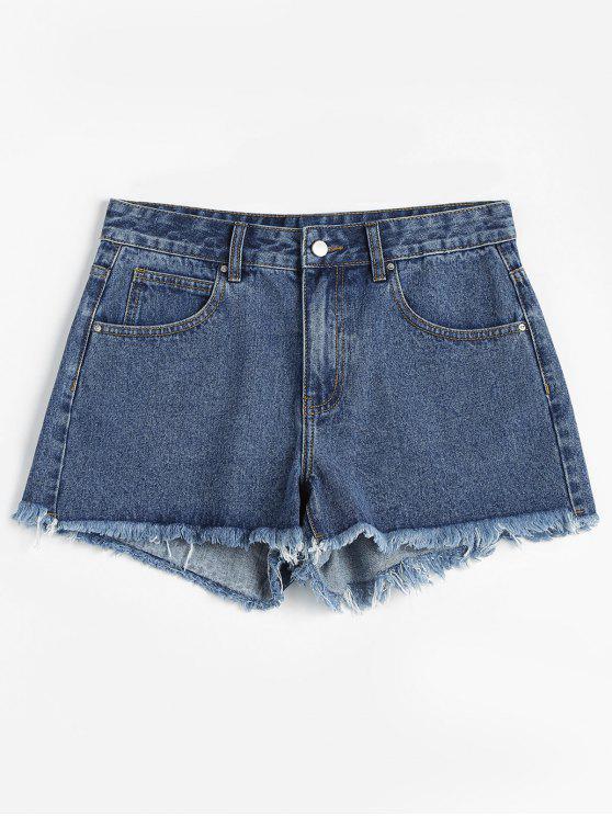 outfit ZAFUL Frayed Denim Shorts - BLUE L