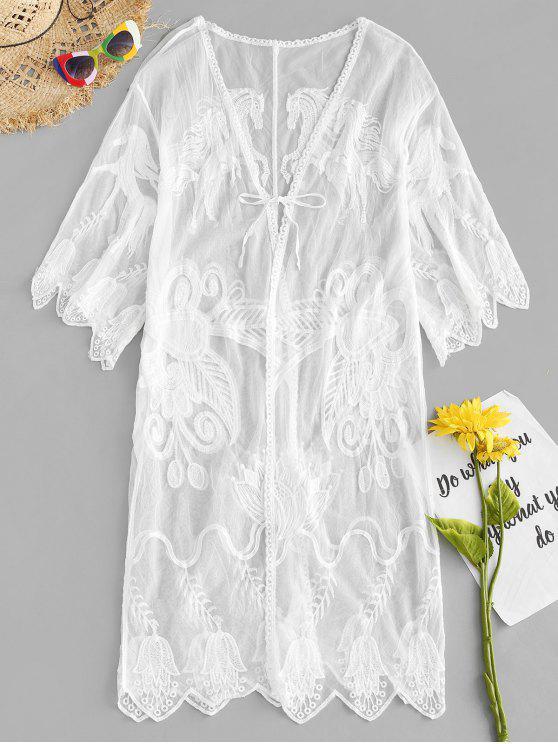 Kimono bordado cobrir-se - Branco Um Tamanho