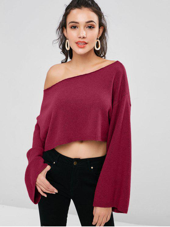 online ZAFUL Skew Collar Drop Shoulder Crop Sweater - RED WINE ONE SIZE