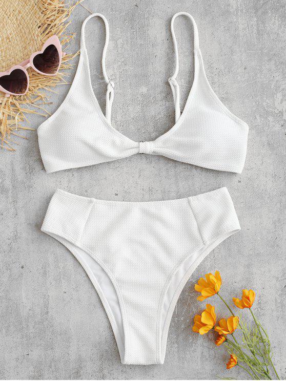 trendy ZAFUL Textured Twisted High Waisted Bikini Set - WHITE L