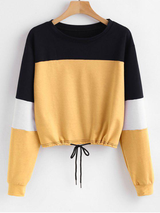 latest Pullover Color Block Sweatshirt - YELLOW L