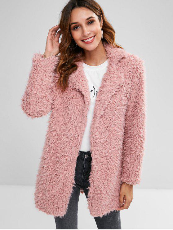 lady Straight Fluffy Tunic Coat - PINK S