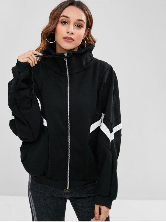 trendy Oversized Zip Up Contrast Jacket - BLACK L