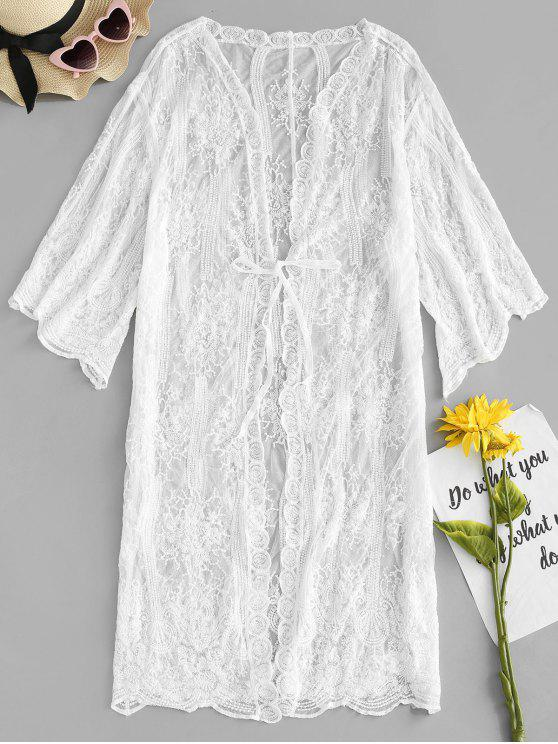 ladies Front Tie Sheer Cover Up - WHITE ONE SIZE